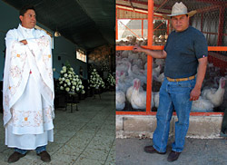 Father Marcos Linares, priest and entrepreneur, tends to two very different kinds of flocks in Atacheo, Mexico.